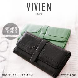 กระเป๋าสตางค์ผู้หญิง รุ่น VIVIEN สีดำ ใบยาว