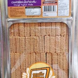 วีฟู้ดส์ ขนมปังปี๊บเวเฟอร์แผ่นโยเกิร์ตส้ม ขนาด 4 กิโลกรัม