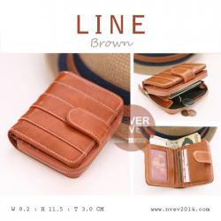 กระเป๋าสตางค์ผู้หญิง LINE สีน้ำตาล Brown
