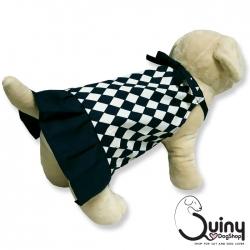 ชุดสุนัข กระโปรง ลายข้าวหลามตัด สีน้ำเงินเข้ม