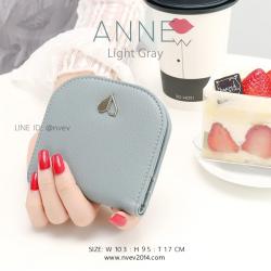 กระเป๋าสตางค์ผู้หญิง แบบบาง รุ่น ANNE สีเทาอ่อน