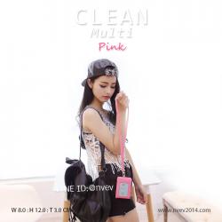 ที่ห้อยคอ กระเป๋าสตางค์ห้อยคอ รุ่น CLEAN multi สีชมพูเข้ม