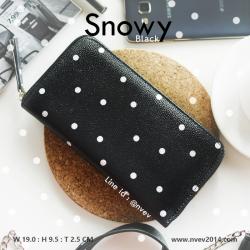 กระเป๋าสตางค์ผู้หญิง ใบยาว ซิปรอบ รุ่น SNOWY สีดำจุดขาว