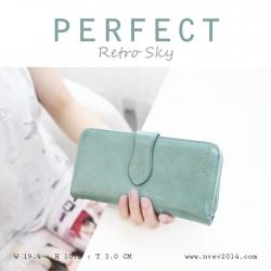 กระเป๋าสตางค์ผู้หญิง รุ่น PERFECT สีฟ้า ใบยาว