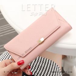 กระเป๋าสตางค์ผู้หญิง รุ่น LETTER สีชมพูอ่อน