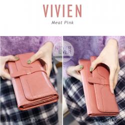 กระเป๋าสตางค์ผู้หญิง รุ่น VIVIEN สีชมพู ใบยาว
