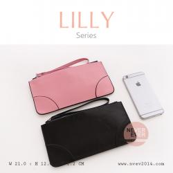 กระเป๋าสตางค์ผู้หญิง ทรงถุง กระเป๋าคลัทช์ สีดำ รุ่น LILLY