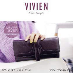 กระเป๋าสตางค์ผู้หญิง รุ่น VIVIEN สีม่วง ใบยาว