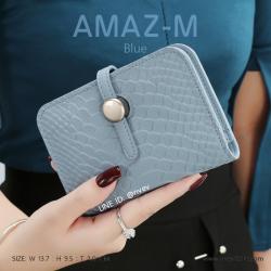 กระเป๋าสตางค์ผู้หญิง ขนาดกลาง รุ่น AMAZ -M สีฟ้า