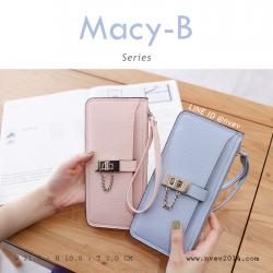 กระเป๋าสตางค์ผู้หญิง ทรงถุง รุ่น MACY-B ชมพูพาสเทล