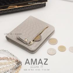 กระเป๋าสตางค์ผู้หญิง แบบบาง รุ่น AMAZ SlimII สีเทา