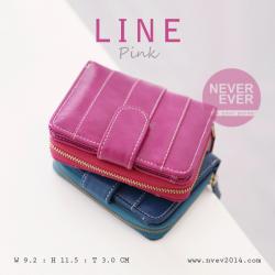 กระเป๋าสตางค์ผู้หญิง LINE สีชมพูเข้ม Pink