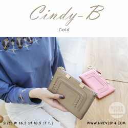 กระเป๋าสตางค์ผู้หญิง ทรงถุง สีทอง รุ่น CINDY-B