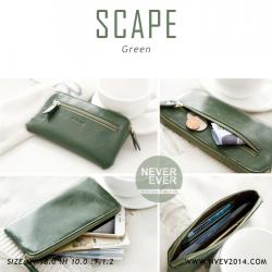 กระเป๋าสตางค์ผู้หญิง ทรงถุง สีเขียว รุ่น SCAPE
