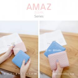 กระเป๋าสตางค์ผู้หญิง แบบบาง รุ่น AMAZ Slim สีชมพู