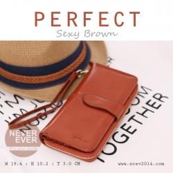 กระเป๋าสตางค์ผู้หญิง รุ่น PERFECT สีน้ำตาล ใบยาว