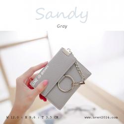 กระเป๋าสตางค์ผู้หญิง ใบสั้น รุ่น SANDY สีเทา