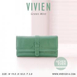 กระเป๋าสตางค์ผู้หญิง รุ่น VIVIEN สีเขียว ใบยาว
