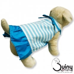 ชุดสุนัข กระโปรง ลายขวาง สีฟ้า