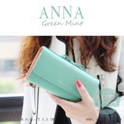 กระเป๋าสตางค์ผู้หญิง รุ่น ANNA สีเขียวมิ้นท์ ใบยาว