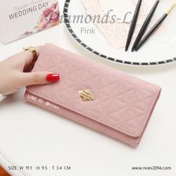 กระเป๋าสตางค์ผู้หญิง ใบยาว รุ่น DIAMONDS-L สีชมพู