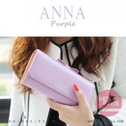 กระเป๋าสตางค์ผู้หญิง รุ่น ANNA สีม่วง ใบยาว