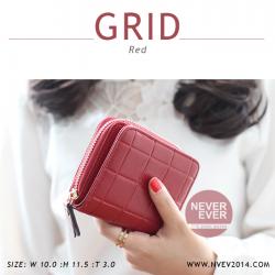 กระเป๋าสตางค์ผู้หญิง GRID สีแดง