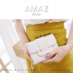 กระเป๋าสตางค์ผู้หญิง ขนาดกลาง รุ่น AMAZ สีขาว