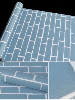 wall สติกเกอร์ ลายอิฐสีฟ้า แกะติดเองได้เลย