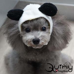 หมวกสุนัข หมีแพนด้า สีขาวดำ
