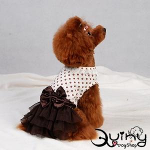 ชุดสุนัข เสื้อคอลูกไม้ลายจุดสีขาว กระโปรงสีน้ำตาล
