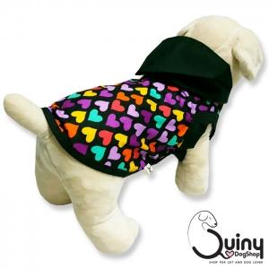 เสื้อสุนัข มีฮู้ด ลายหัวใจสีดำ