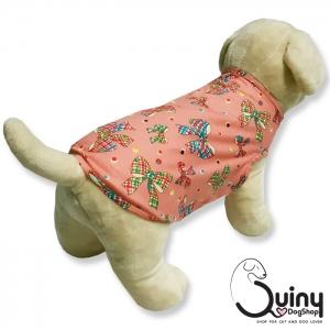 เสื้อสุนัข แขนกุด ลายโบว์สีชมพู