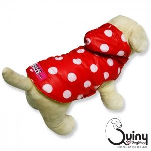 เสื้อสุนัข แจ็คเก็ต ลายจุดสีแดง