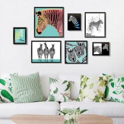 """สติ๊กเกอร์ติดผนังตกแต่งบ้าน (AU) """"Graphic Zebra Frame ม้าลาย"""" ความสูง 59 cm ยาว 121 cm"""