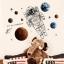 """สติ๊กเกอร์ติดผนังตกแต่งบ้าน """"Astronaut in Space"""" ความสูง 90 cm ความยาว 120 cm thumbnail 2"""