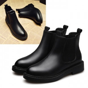 SH_1621 (pre-order) รองเท้าบู๊ทหนังแท้สีดำ บุแคชเมียร์ด้านใน ใส่เที่ยวเมืองนอก, 2017, Shoes, Black, Size 35-36-37-38-39-40