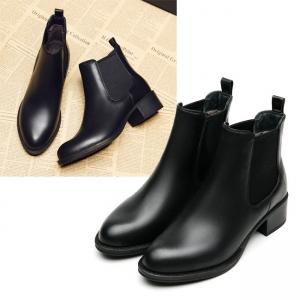 SH_1625 (pre-order) รองเท้าหนังลุยหนาว Chelsea ใส่เที่ยวเมืองนอก สูง 4cm, 2017, Shoes, Black, Size
