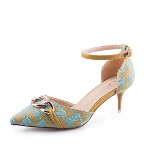SH_1645 (pre-order) รองเท้าส้นสูง 6cm แบรนด์ EX สไตล์ถักโทนฟ้าเหลืองอมเขียว, 2017, Shoes, BlueGreen, Size 34-35-36-37-38-39