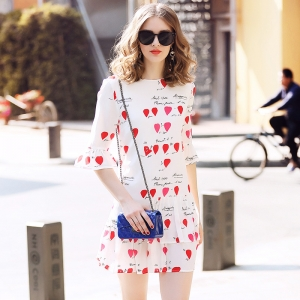 DR_9665 (pre-order) ชุดเดรสแฟชั่นยุโรป ผ้าSilk แท้พิมพ์ลายนิ่ม แฟชั่นขาวแดง, 2017, Dress, White&Red, S-M-L-XL