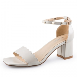 SH_1648 (pre-order) รองเท้าสายคาด สไตล์ Sandals ส้นหนา สีขาว สูง 6cm, 2017, Shoes, White, Size 34-35-36-37-38-39