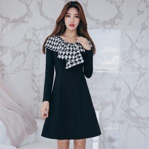 DR_9647 (pre-order) แฟชั่นเดรสเกาหลี สไตล์ผูกผ้าพันคอ แขนยาวสีดำ, 2017, Dress, Black, S-M-L-XL
