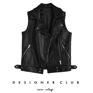 BL_5008 (pre-order) เสื้อกั๊กหนังสีดำ แฟชั่นใส่เที่ยวแขนกุด, 2017, Top-Jacket, Black, S-M-L