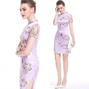 DR_9519 (pre-order) ชุดเดรสออกงานคอจีน สีม่วงพาสเทล ผสมงานปัก, 2017, Dress, Purple, S-M-L-XL-XXL-3XL