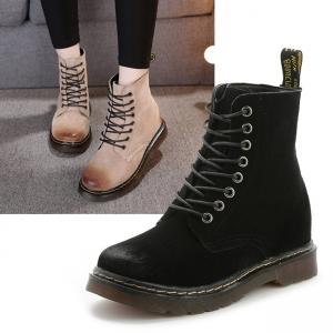 SH_1622 (pre-order) รองเท้าบู๊ทผ้าใบ ใส่เที่ยวเมืองนอก สูง 3.5cm, 2017, Shoes, Black-Beige-Green Khaki, Size 35-363-7-38-39-40