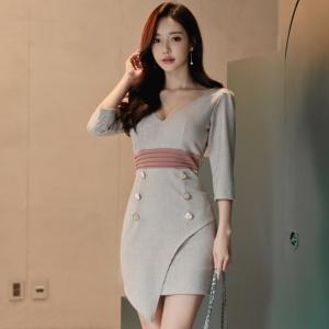 DR_9652 (pre-order) ชุดเดรสทำงานสม๊อคเอง แฟชั่นเกาหลี สีเบจเทา, 2017, Dress, GreyBeige, S-M-L-XL