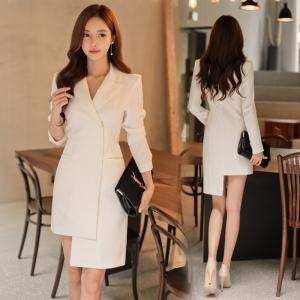 DR_9643 (pre-order) ชุดเดรสสูทสีเบจแขนยาว แฟชั่นเกาหลี, 2017, Dress, Beige, S-M-L-XL