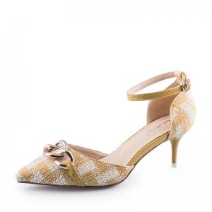SH_1644 (pre-order) รองเท้าแฟชั่นส้นแหลม สูง 6cm สไตล์ห่วงถัก สีเหลือง แบรนด์ EX, 2017, Shoes, Size 34-35-36-37-38