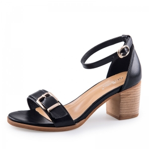SH_1643 (pre-order) รองเท้า Sandals สีดำ สูง 6.5cm เปิดส้น-รัดข้อ, 2017, Shoes, Black, Size 34-35-36-37-38-39