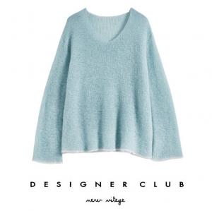 BL_5004 (pre-order) เสื้อถัก Sweater สีฟ้าพาสเทลแขนยาว, 2017, Top, Blue, Free Size